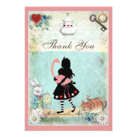 Alice, Flamingo & Cat Baby Shower Thank You Invitations