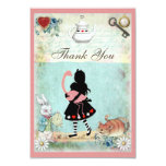 Alice, Flamingo & Cat Baby Shower Thank You 3.5x5 Paper Invitation Card