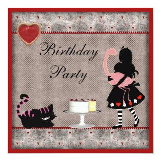 Alice, Flamingo & Cheshire Cat Birthday Party Card