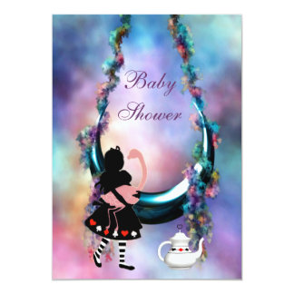 Alice & Flamingo Hanging Moon Baby Shower Card