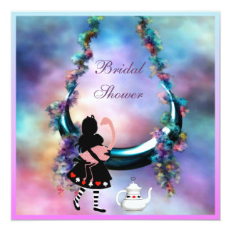Alice & Flamingo Hanging Moon  Bridal Shower Card