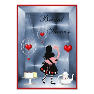 Valentines Themed Alice & Flamingo Hearts Bridal Shower Tea Party Card