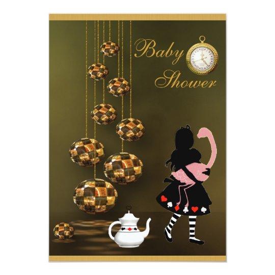 Alice & Flamingo Neutral Wonderland Baby Shower Card
