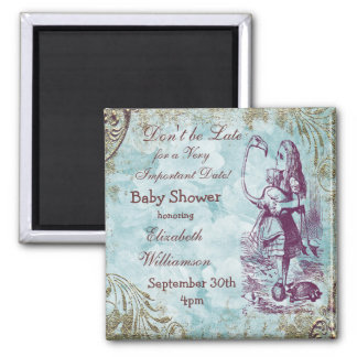 Alice & Flamingo Save The Date Baby Shower Refrigerator Magnet