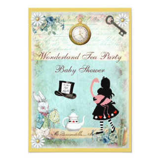 Alice & Flamingo Wonderland Baby Shower Tea Party 5x7 Paper Invitation Card