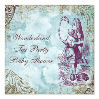 Alice & Flamingo Wonderland Baby Shower Tea Party Custom Invites