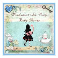 Alice & Flamingo Wonderland Baby Shower Tea Party Custom Invitations