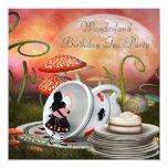 "Alice & Flamingo Wonderland Birthday Party 5.25"" Square Invitation Card"