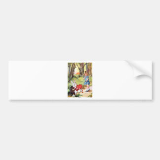 Alice Follows the White Rabbit To Wonderland Bumper Sticker