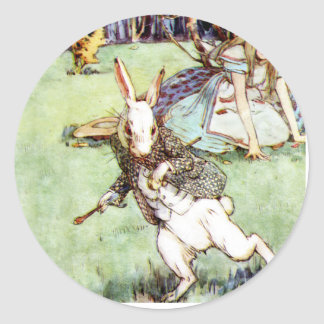 Alice Follows the White Rabbit To Wonderland Classic Round Sticker