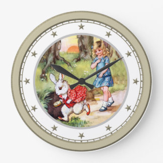 Alice Follows the White Rabbit to Wonderland Wall Clock