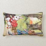 Alice Follows the White Rabbit to Wonderland Pillows