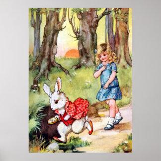 Alice Follows the White Rabbit to Wonderland Poster