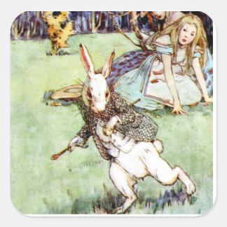 Alice Follows the White Rabbit To Wonderland Square Sticker