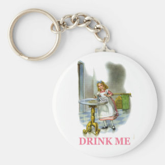 "Alice Found a Key by a Bottle that said Drink Me!"" Basic Round Button Keychain"