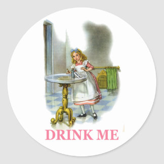 """Alice Found a Key by a Bottle that said Drink Me!"""" Round Sticker"""
