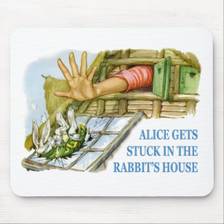 Alice gets stuck in the rabbit's house mouse pad