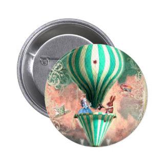 Alice GREEN Hot Air Ballon Pinback Buttons