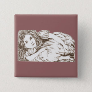 Alice Grows by Lewis Carroll Sepia Tint Pinback Button