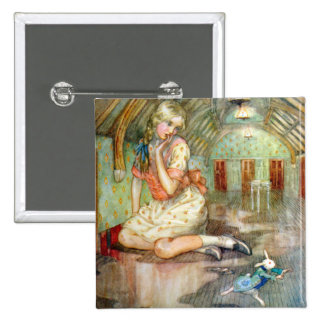 Alice Grows Too Big for the House in Wonderland Pinback Buttons