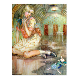 Alice Grows Too Big for the House in Wonderland Postcard