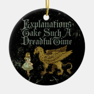 Alice Gryphon Explanations Double-Sided Ceramic Round Christmas Ornament