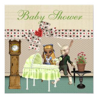 Alice & Hare In Wonderland Over Baby Shower Card