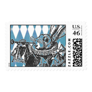 Alice Harlequin White Rabbit Stamp