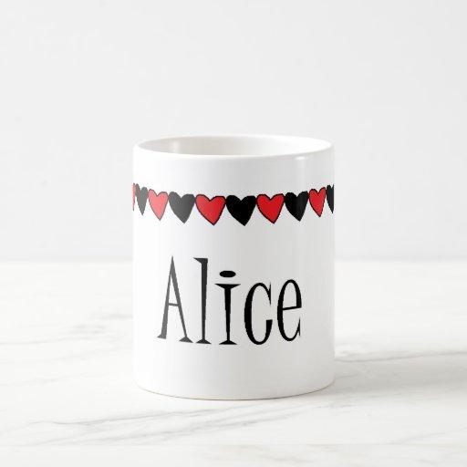 Alice Hearts Name Classic White Coffee Mug