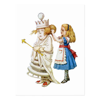Alice Helps Out the White Queen in Wonderland Postcard