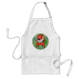 Alice & Her Cat Dinah in the Big Red Velvet Chair Adult Apron