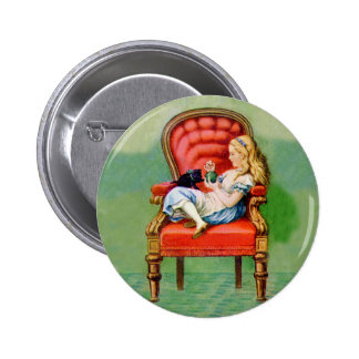Alice & Her Cat Dinah in the Big Red Velvet Chair Pins