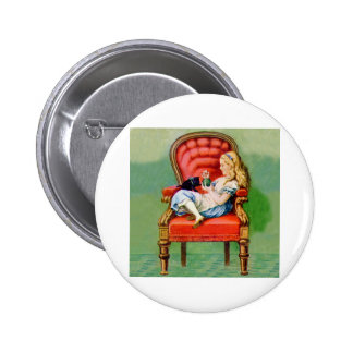 Alice & Her Cat Dinah in The BIg Red Velvet Chair Buttons