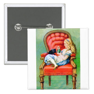Alice & Her Cat Dinah in the Big Red Velvet Chair Pinback Button