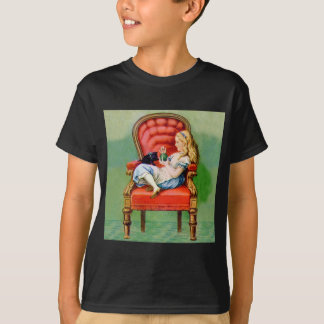 Alice & Her Cat Dinah in The BIg Red Velvet Chair T-Shirt