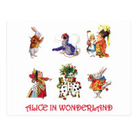 Alice & Her Friends from Wonderland Postcard