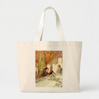 ALICE HERSELF TO THE MAD HATTER'S TEA PARTY LARGE TOTE BAG