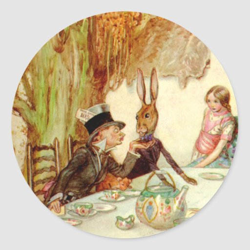 ALICE HERSELF TO THE MAD HATTER'S TEA PARTY CLASSIC ROUND STICKER