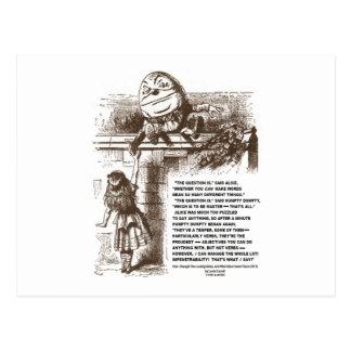 Alice Humpty Dumpty Wonderland Conversation Quote Postcard