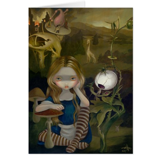 """Alice in a Bosch Landscape"" Greeting Card"