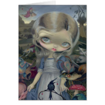 bosch, hieronymus bosch, pop surrealism, lowbrow, big eye, alice enchanted, alice, wonderland, jasmine becket-griffith, artsprojekt, monster, lewis carroll, creatures, demons, enchanted, through the looking glass, lewis, carroll, big eyed, jasmine, becket-griffith, becket, griffith, strangeling, goth, gothic, low brow, big eyes, strangling, fantasy art, pop surrealist, painting, acrylic, paintings, fantasy life, homeotherm, homoiotherm, creepy-crawly, phantasy world, Card with custom graphic design