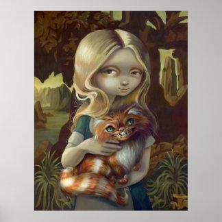 Alice in a Da Vinci Portrait wonderland goth Print