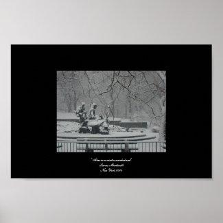 Alice in a winter wonderland print
