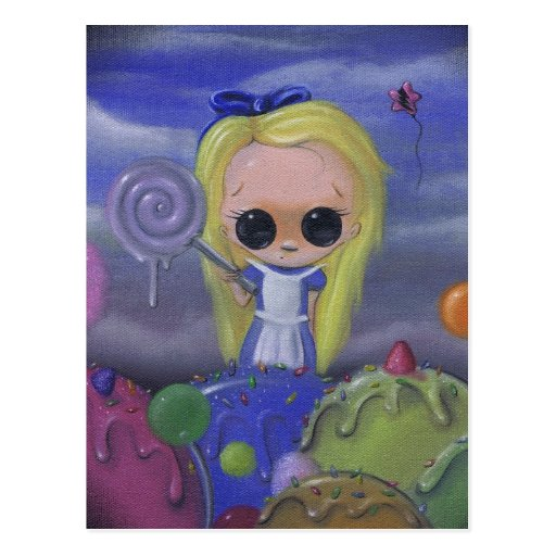 alice in candyland postcard