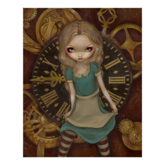 Alice in Clockwork - steampunk in wonderland Print
