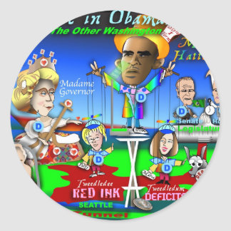 Alice in ObamaLand Classic Round Sticker