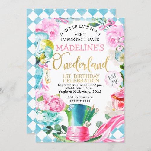 Alice In Onederland 1st Birthday Invitation