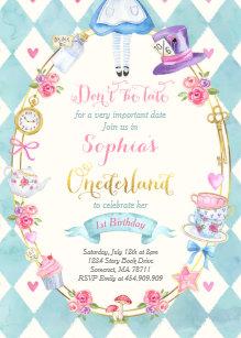 Tea birthday invitations zazzle alice in onederland birthday invitation tea party filmwisefo