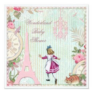 Alice in Paris Shabby Chic Wonderland Baby Shower Card
