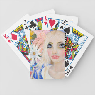 Alice in the Garden of Live Flowers Painting Bicycle Playing Cards